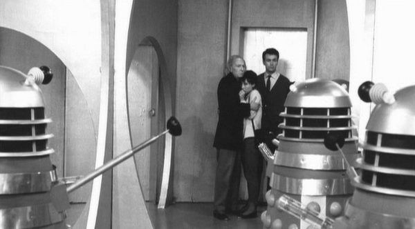"""A Dalek battles a Mechanoid, in """"The Chase"""" - 1967."""